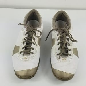 Nike power channel gold shoes